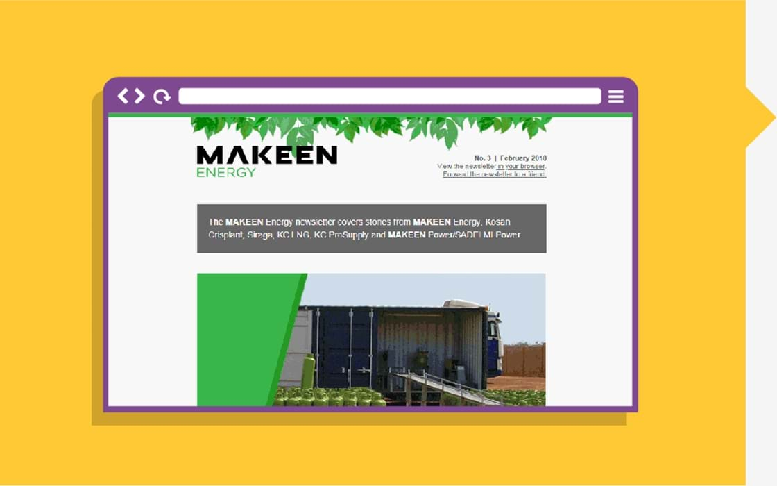image of browser with a newsletter from MAKEEN Energy